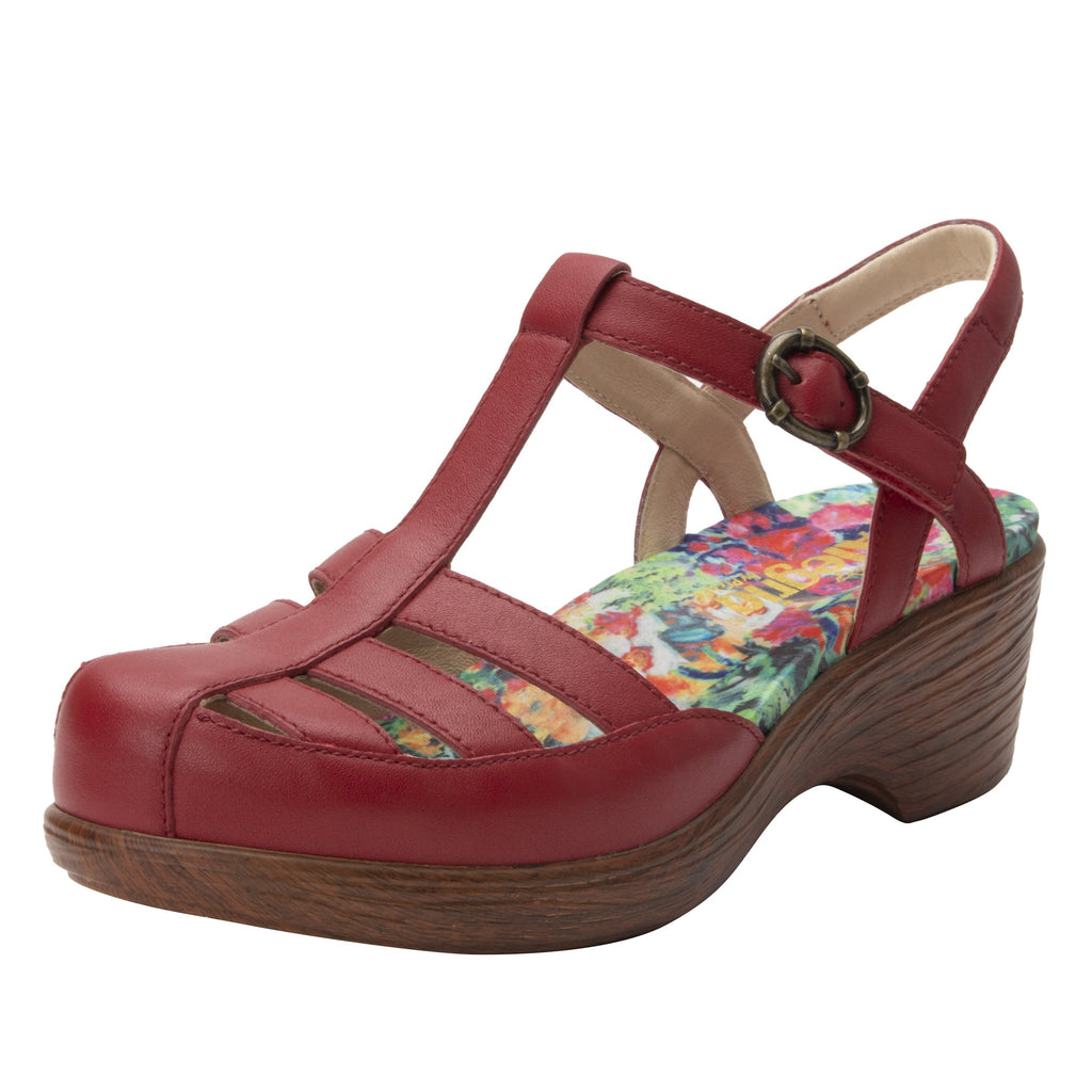 Summer Red t-strap shoe on a wood look wedge outsole - SUM-623_S1