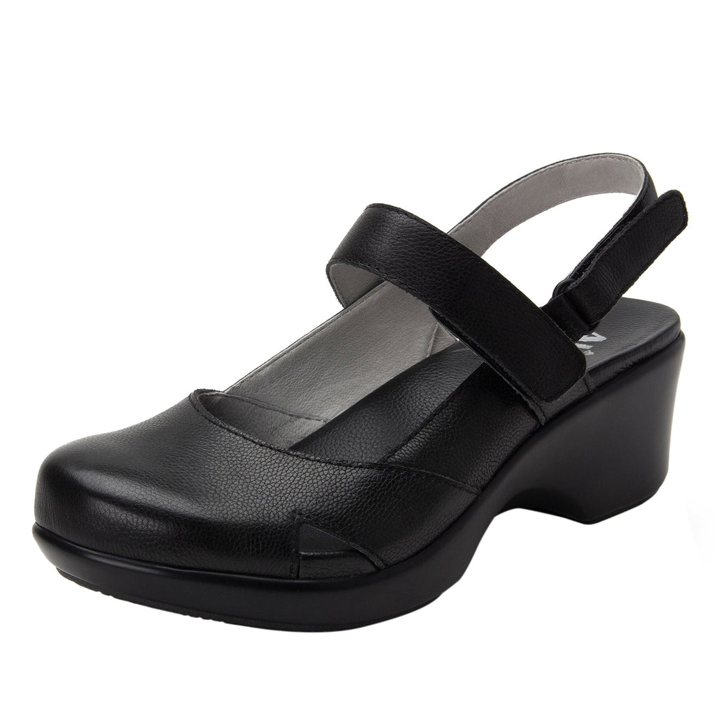 Tarah Black Casual slingback maryjane on comfort wedge outsole - ALG-TAR-611_S1 (2210298200118)