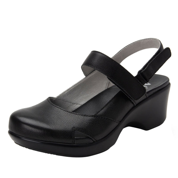 Tarah Black Casual slingback maryjane on comfort wedge outsole - ALG-TAR-611_S1