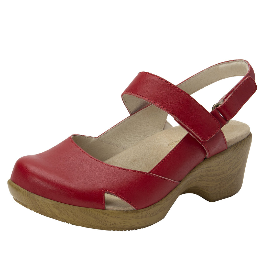 Tarah Red slingback maryjane on comfort wedge outsole - ALG-TAR-623_S1