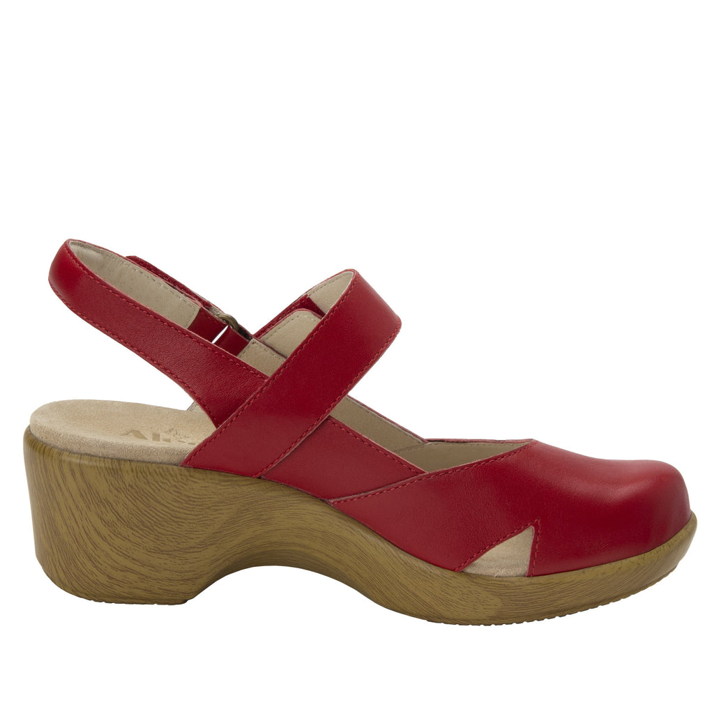 Tarah Red slingback maryjane on comfort wedge outsole - ALG-TAR-623_S2