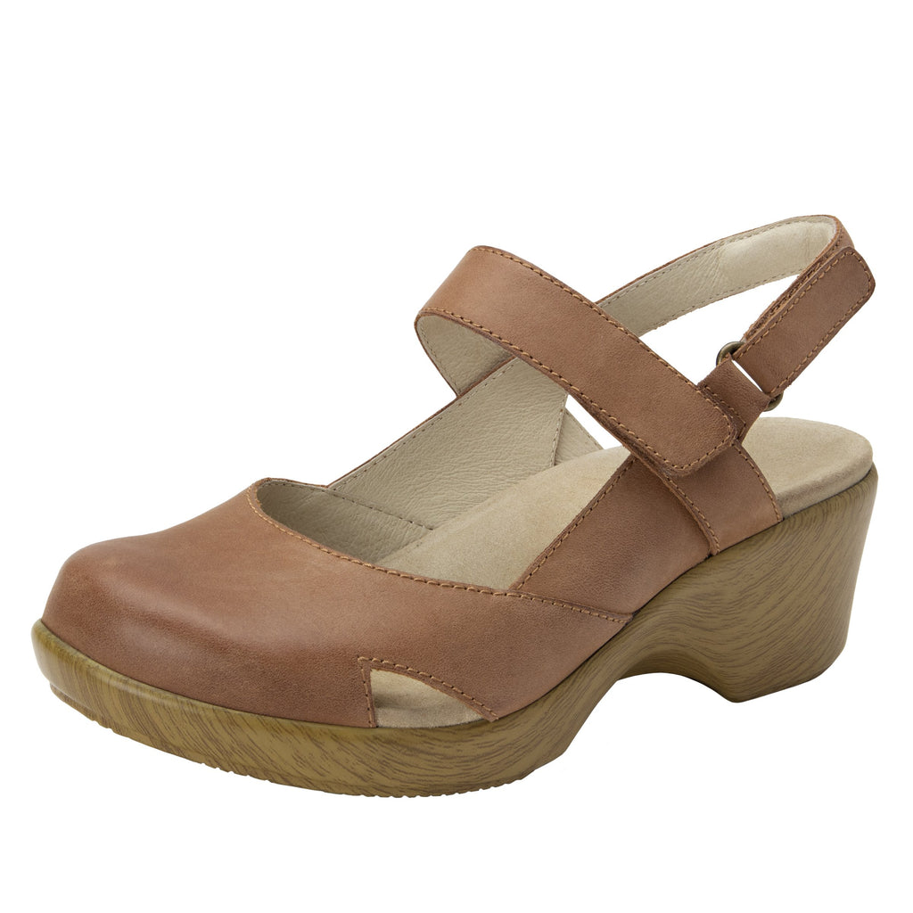 Tarah Cognac slingback maryjane on comfort wedge outsole - ALG-TAR-647_S1