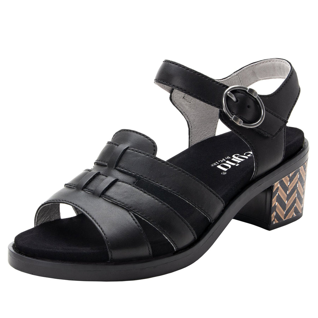 Tasia Black adjustable strap slide sandal with printed leather wrapped comfort block heel outsole- TAS-601_S1