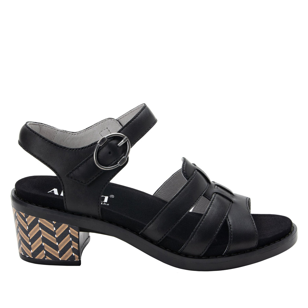 Tasia adjustable strap slide sandal with printed leather wrapped comfort block heel outsole- TAS-601_S2