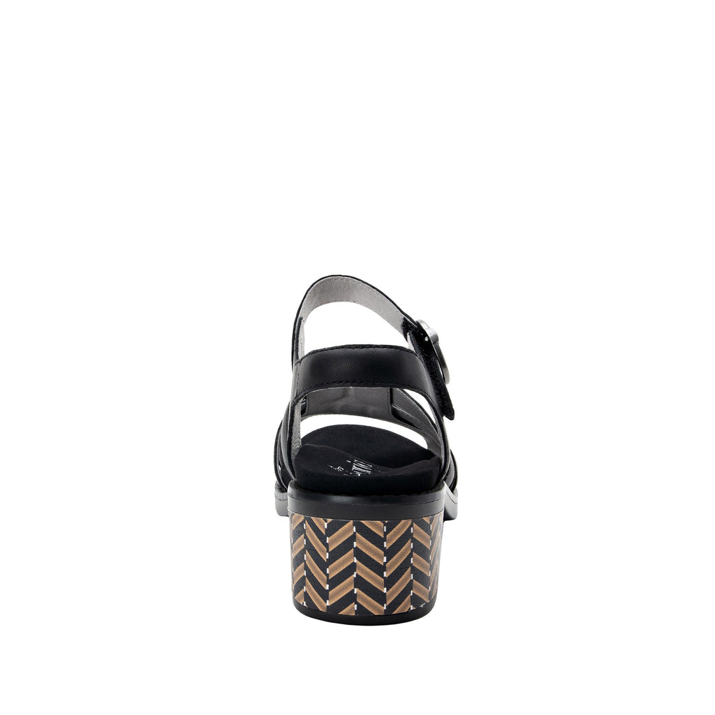 Tasia adjustable strap slide sandal with printed leather wrapped comfort block heel outsole- TAS-601_S3