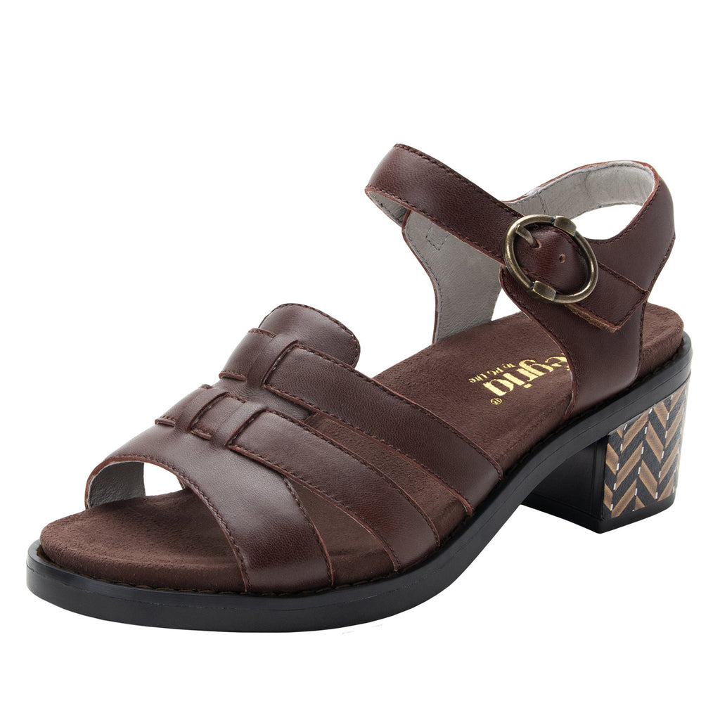 Tasia Mocha adjustable strap slide sandal with printed leather wrapped comfort block heel outsole- TAS-602_S1