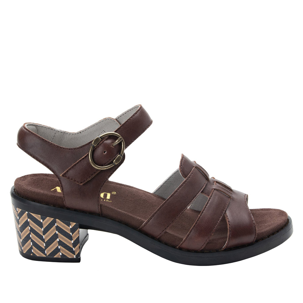 Tasia Mocha adjustable strap slide sandal with printed leather wrapped comfort block heel outsole- TAS-602_S2