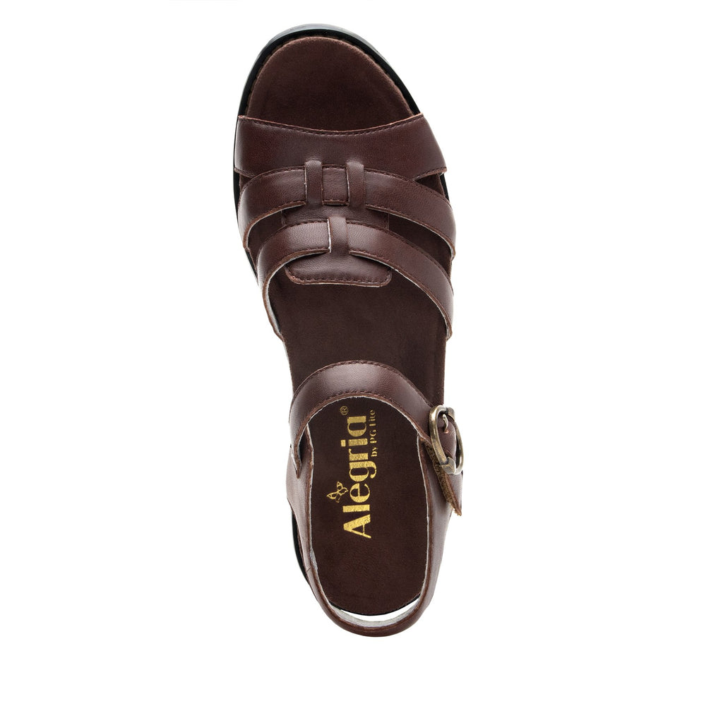 Tasia Mocha adjustable strap slide sandal with printed leather wrapped comfort block heel outsole- TAS-602_S4