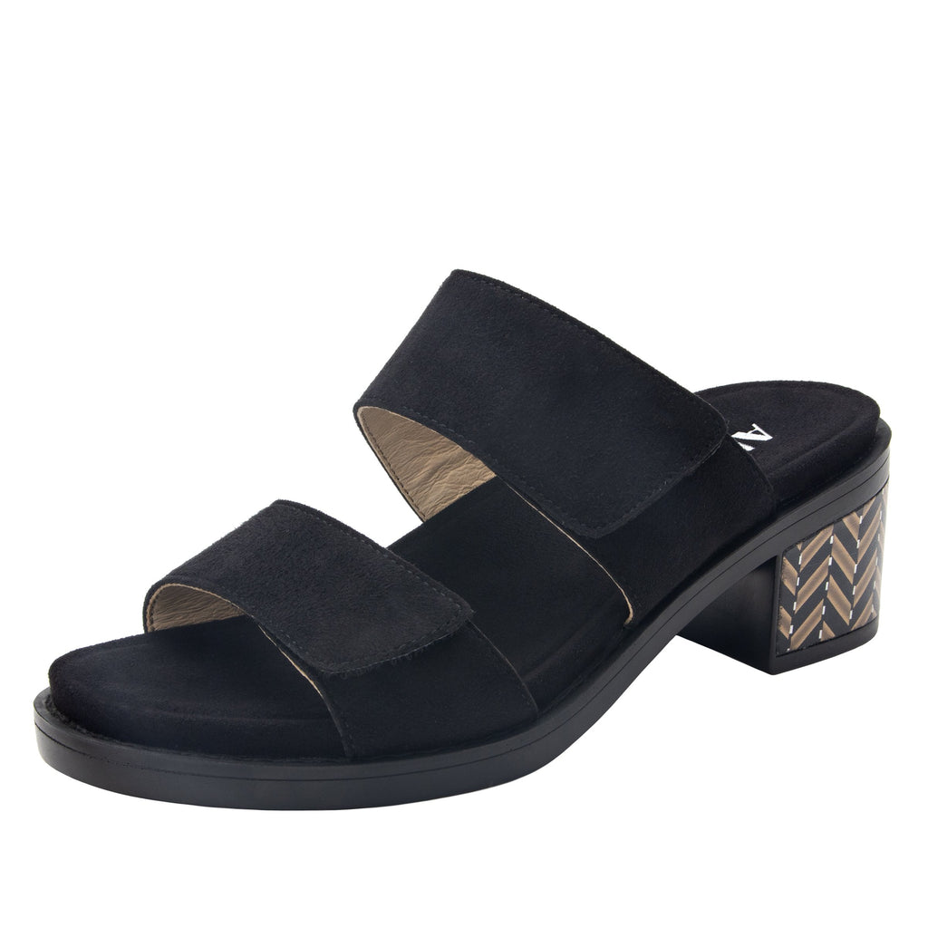 Tia Black adjustable strap slip on sandal with printed leather wrapped comfort block heel outsole- TIA-601_S1