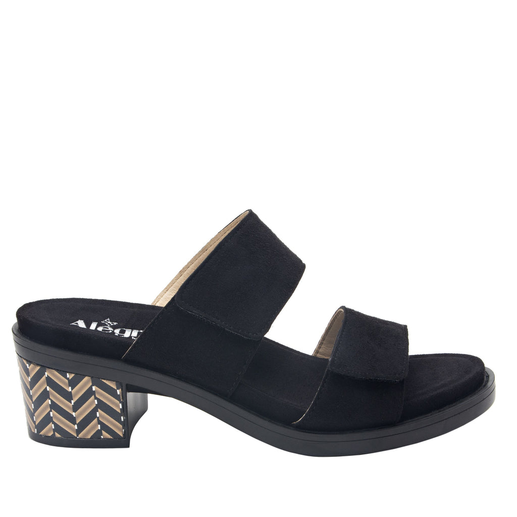 Tia Black adjustable strap slip on sandal with printed leather wrapped comfort block heel outsole- TIA-601_S2