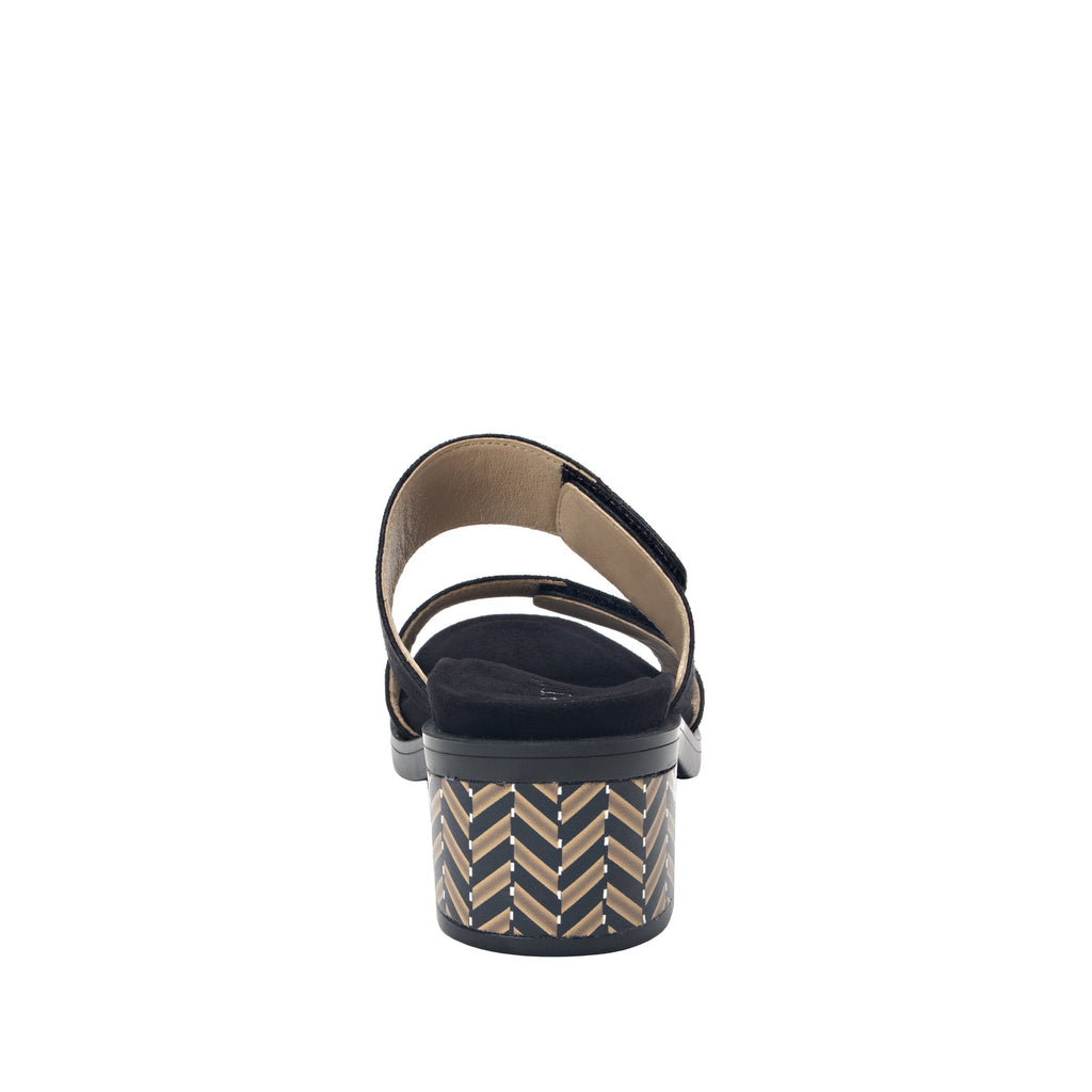 Tia Black adjustable strap slip on sandal with printed leather wrapped comfort block heel outsole- TIA-601_S3