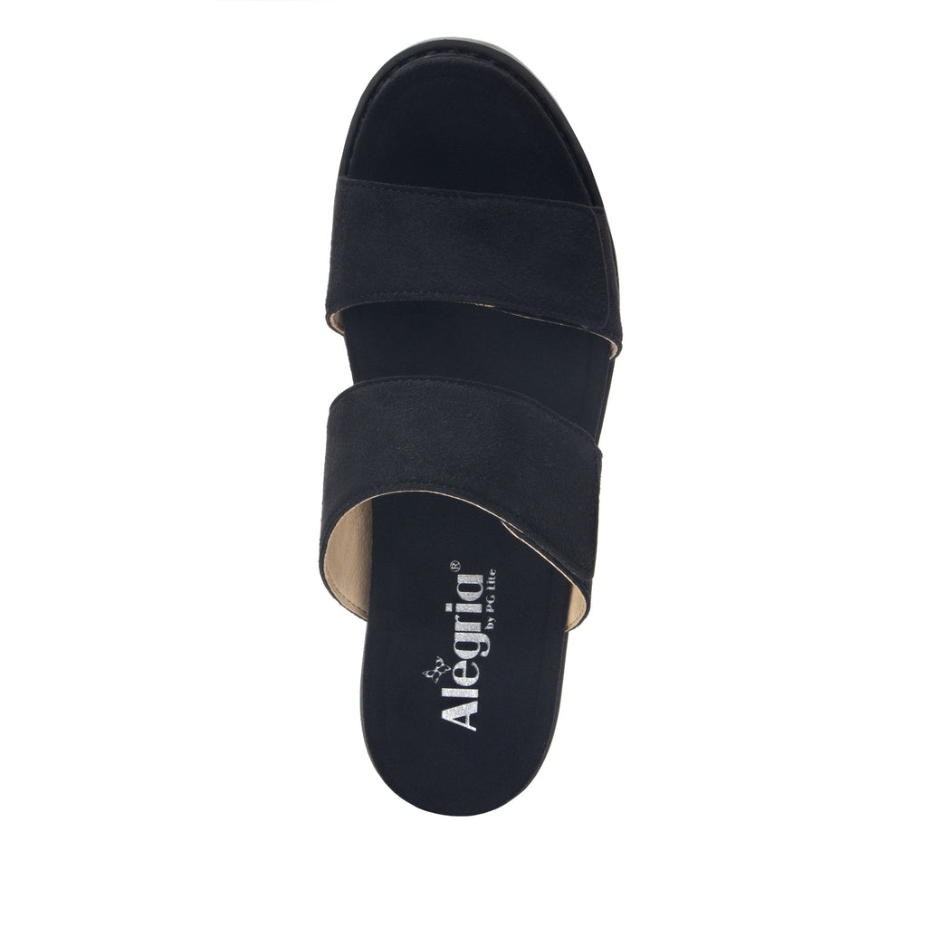 Tia Black adjustable strap slip on sandal with printed leather wrapped comfort block heel outsole- TIA-601_S4