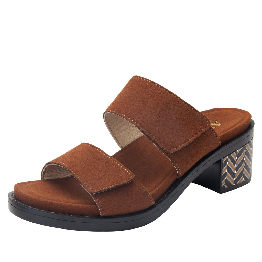 Tia Sienna adjustable strap slip on sandal with printed leather wrapped comfort block heel outsole- TIA-602_S1