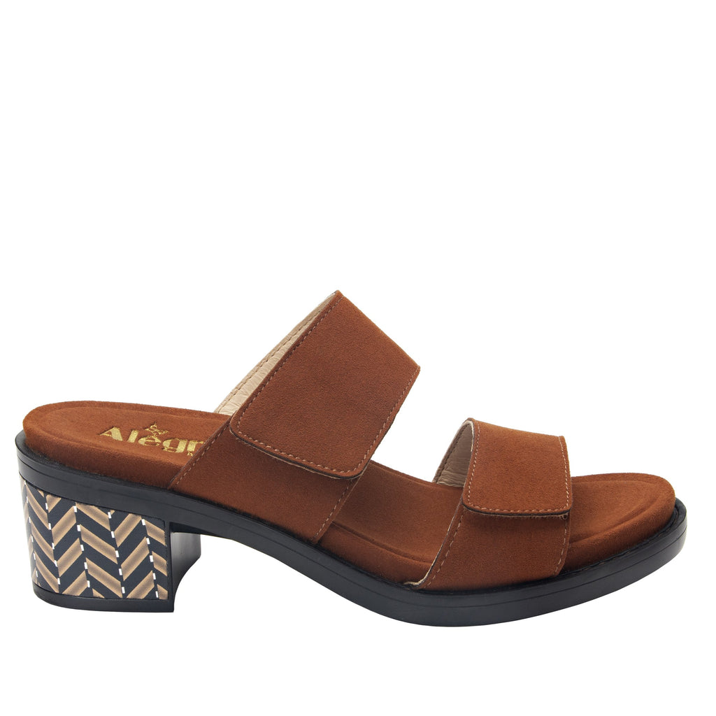Tia Sienna adjustable strap slip on sandal with printed leather wrapped comfort block heel outsole- TIA-602_S2