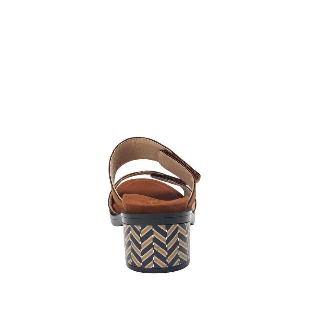 Tia Sienna adjustable strap slip on sandal with printed leather wrapped comfort block heel outsole- TIA-602_S3