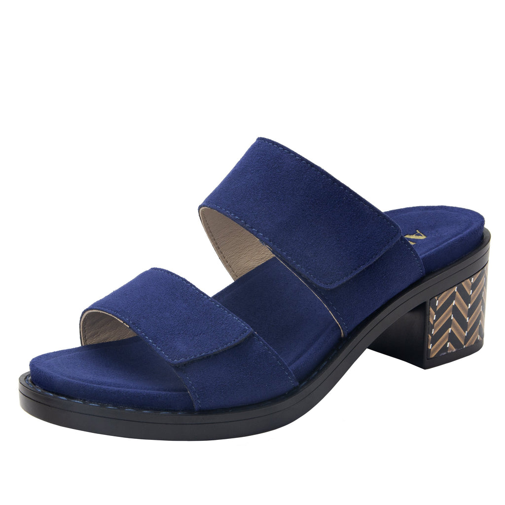 Tia Sapphire adjustable strap slip on sandal with printed leather wrapped comfort block heel outsole- TIA-603_S1