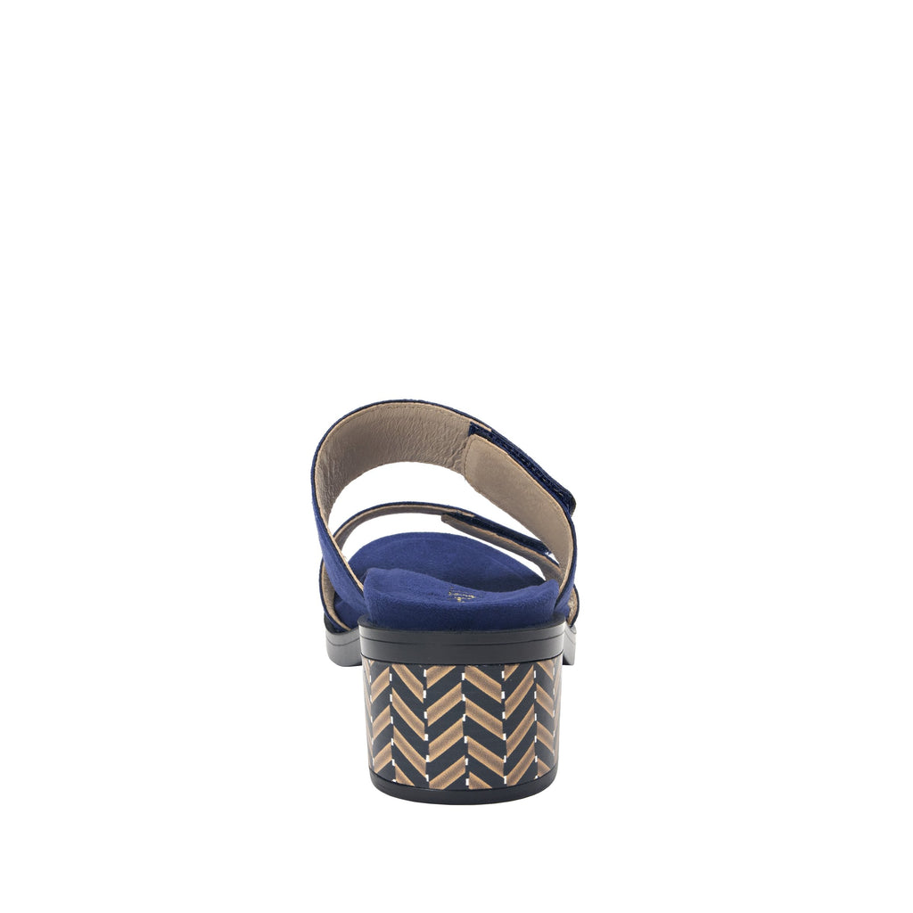 Tia Sapphire adjustable strap slip on sandal with printed leather wrapped comfort block heel outsole- TIA-603_S3