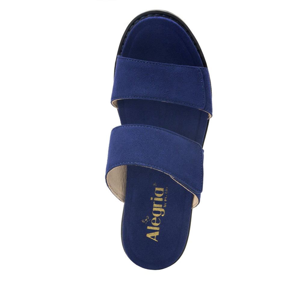 Tia Sapphire adjustable strap slip on sandal with printed leather wrapped comfort block heel outsole- TIA-603_S4