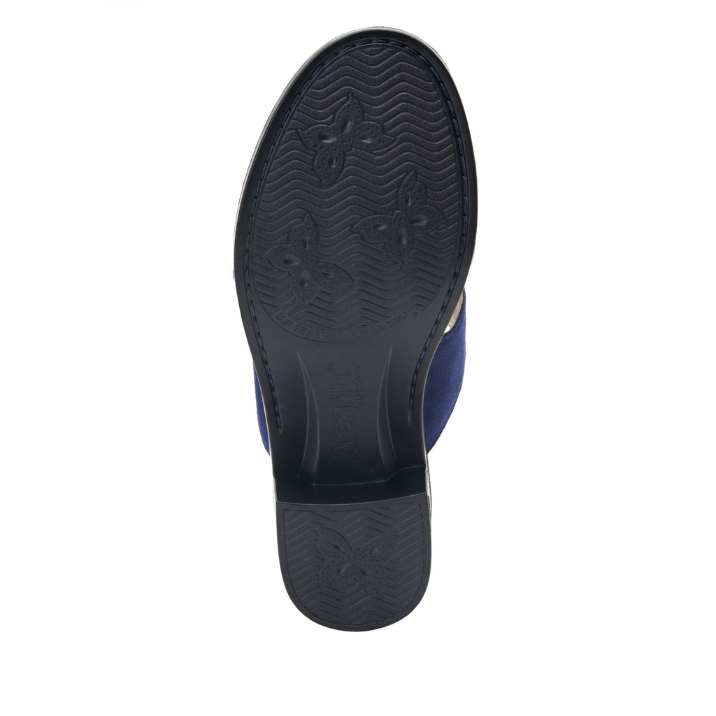 Tia Sapphire adjustable strap slip on sandal with printed leather wrapped comfort block heel outsole- TIA-603_S5