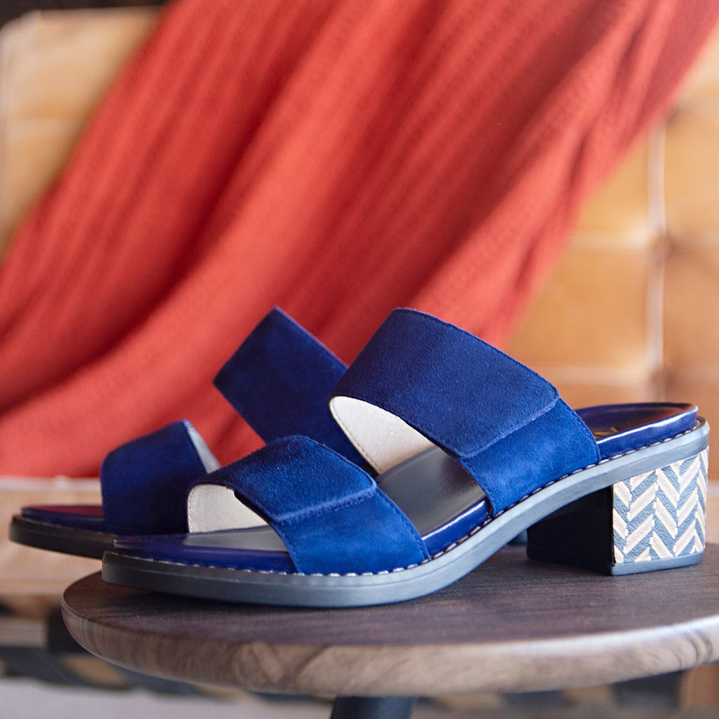 Tia Sapphire adjustable strap slip on sandal with printed leather wrapped comfort block heel outsole- TIA-603_S2