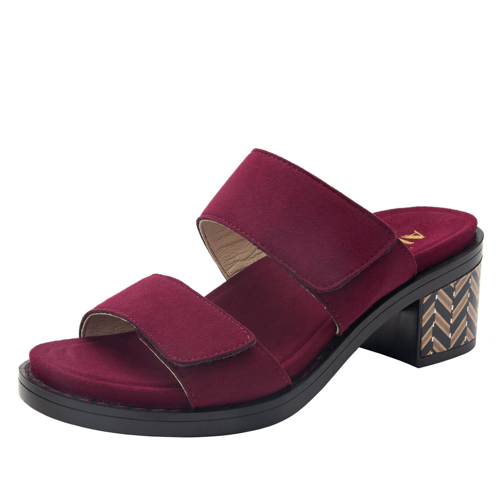 Tia Syrah adjustable strap slip on sandal with printed leather wrapped comfort block heel outsole- TIA-605_S1