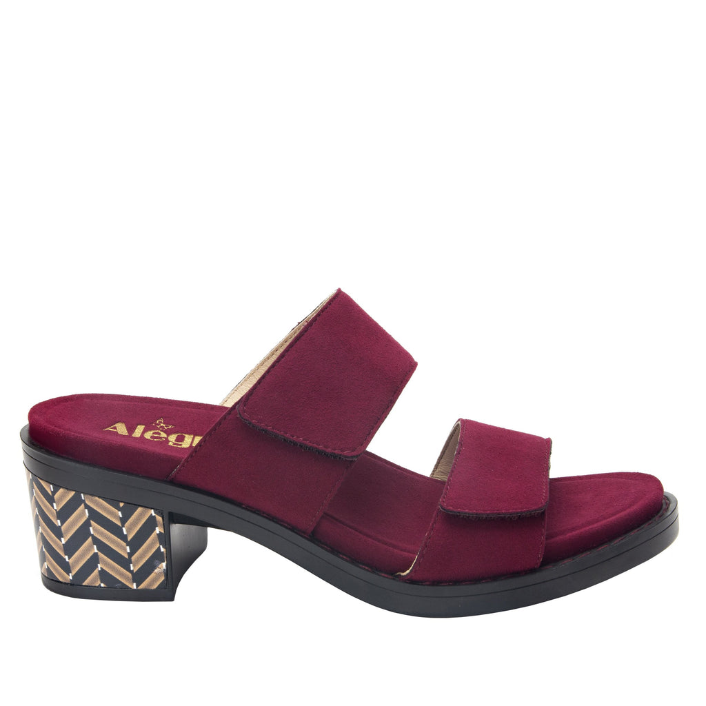 Tia Syrah adjustable strap slip on sandal with printed leather wrapped comfort block heel outsole- TIA-605_S2