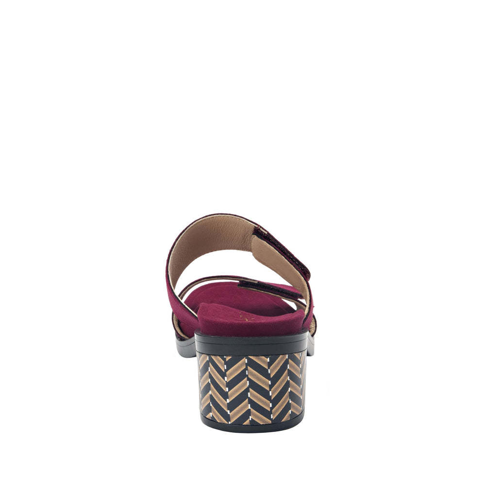 Tia Syrah adjustable strap slip on sandal with printed leather wrapped comfort block heel outsole- TIA-605_S3
