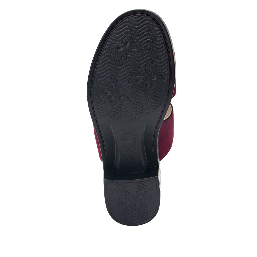 Tia Syrah adjustable strap slip on sandal with printed leather wrapped comfort block heel outsole- TIA-605_S5