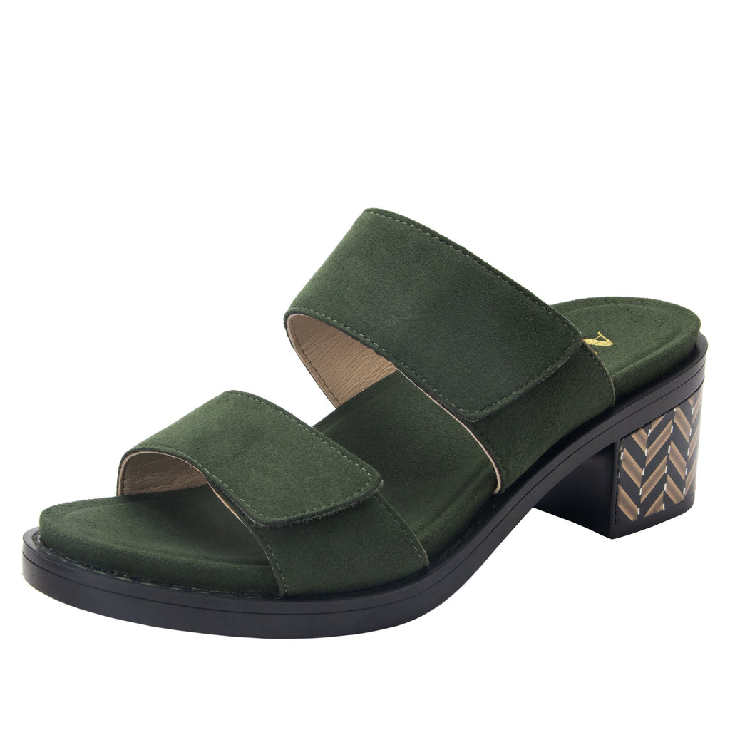 Tia Pine adjustable strap slip on sandal with printed leather wrapped comfort block heel outsole- TIA-606_S1