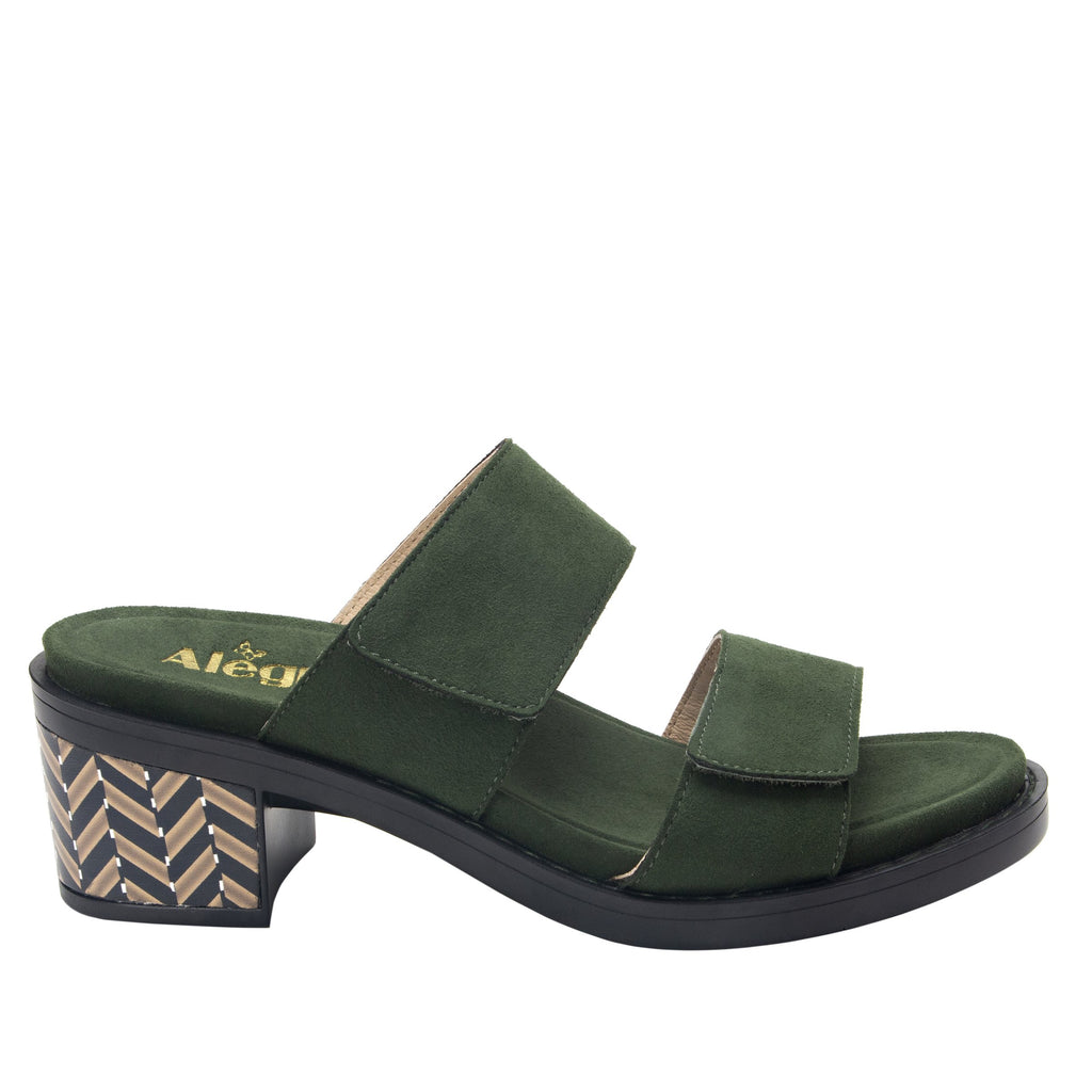 Tia Pine adjustable strap slip on sandal with printed leather wrapped comfort block heel outsole- TIA-606_S3