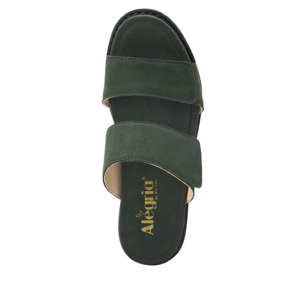 Tia Pine adjustable strap slip on sandal with printed leather wrapped comfort block heel outsole- TIA-606_S5