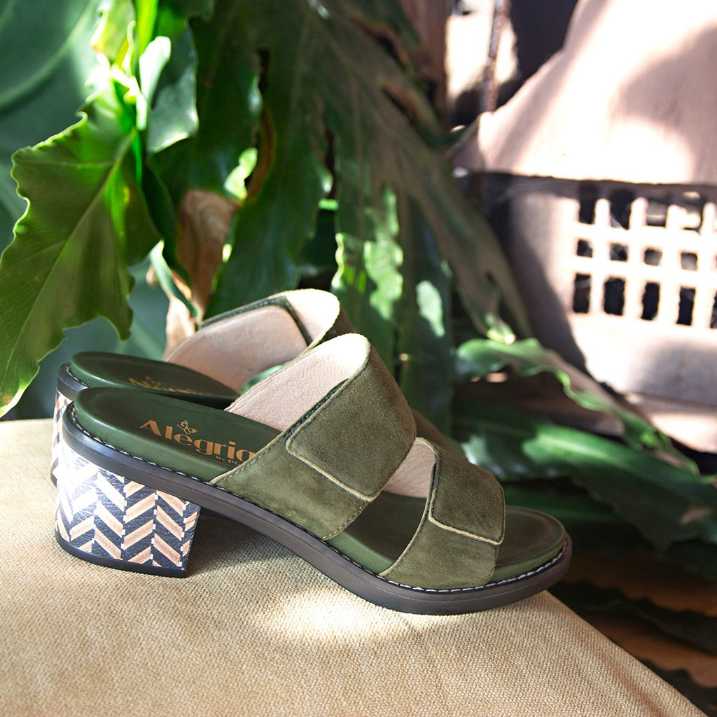 Tia Pine adjustable strap slip on sandal with printed leather wrapped comfort block heel outsole- TIA-606_S2