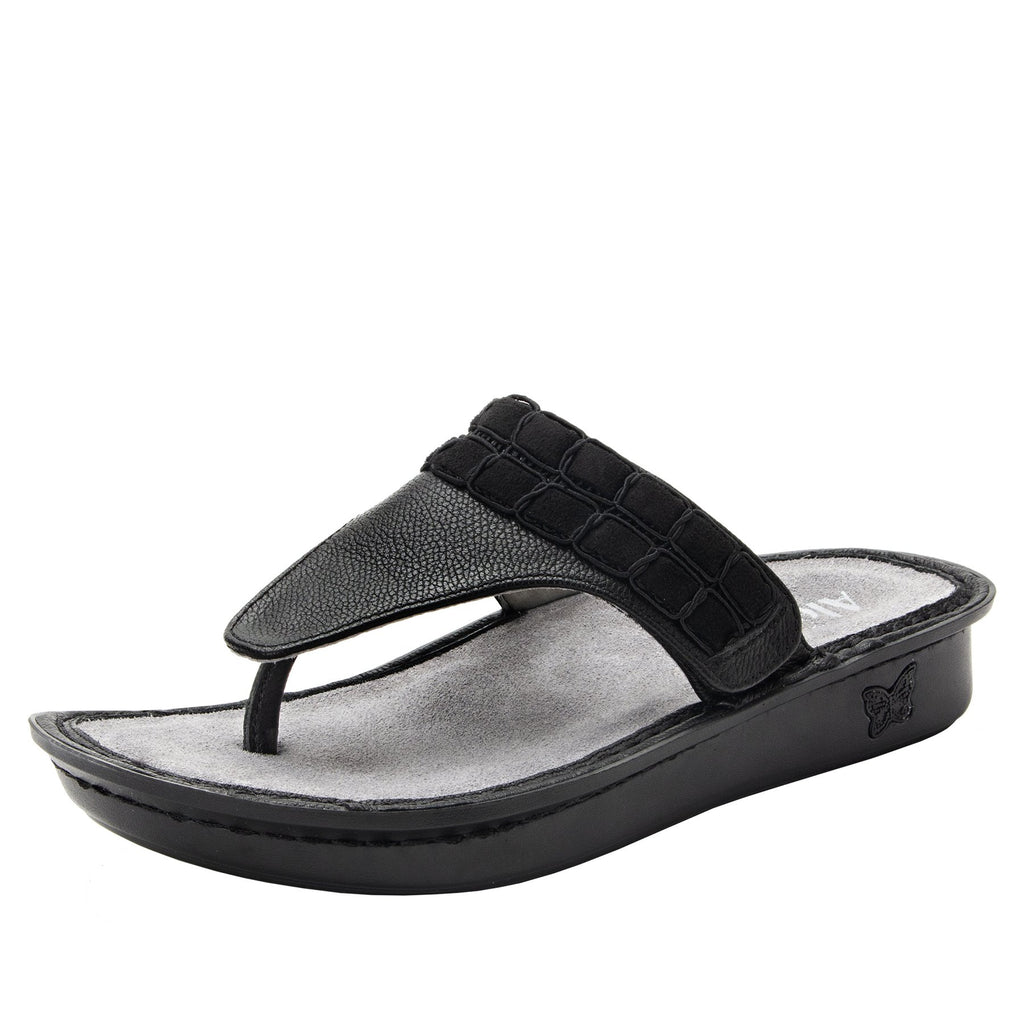 Vanessa Black Upgrade thong style sandal with adjustable strap on the mini outsole - VAN-161_S1