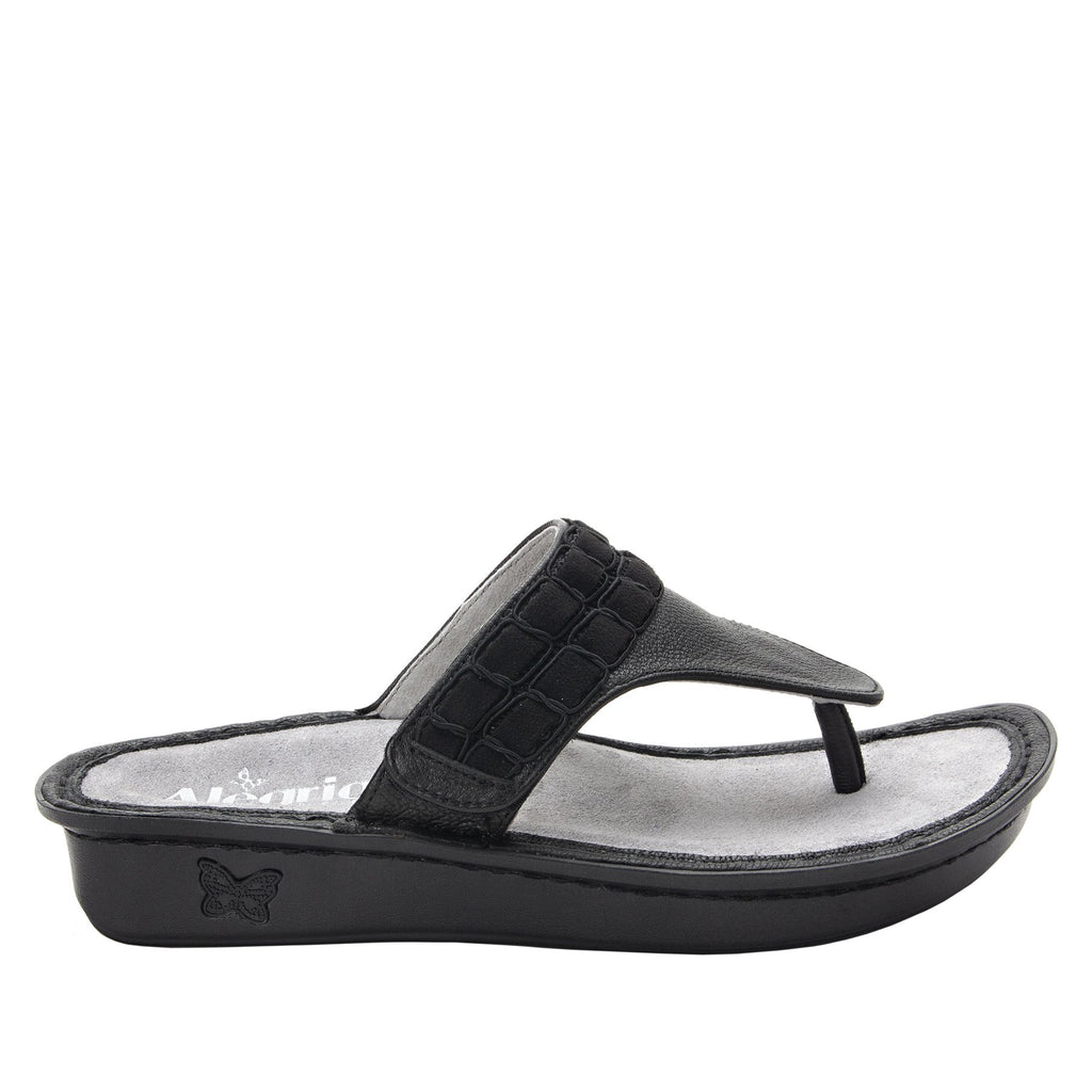 Vanessa Black Upgrade thong style sandal with adjustable strap on the mini outsole - VAN-161_S2
