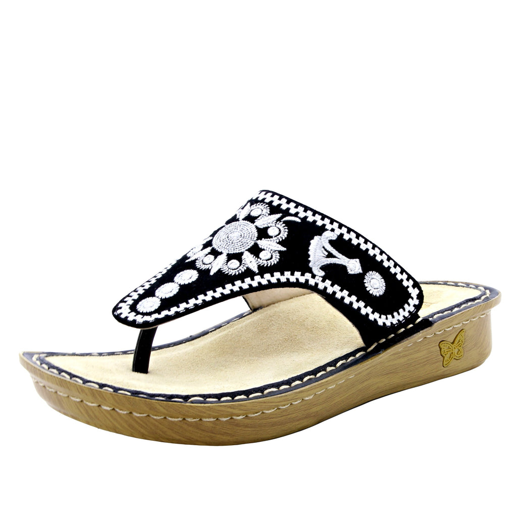 Vanessa Mandala Black thong style sandal with adjustable strap on the mini outsole - VAN-177_S1 (1563274575926)