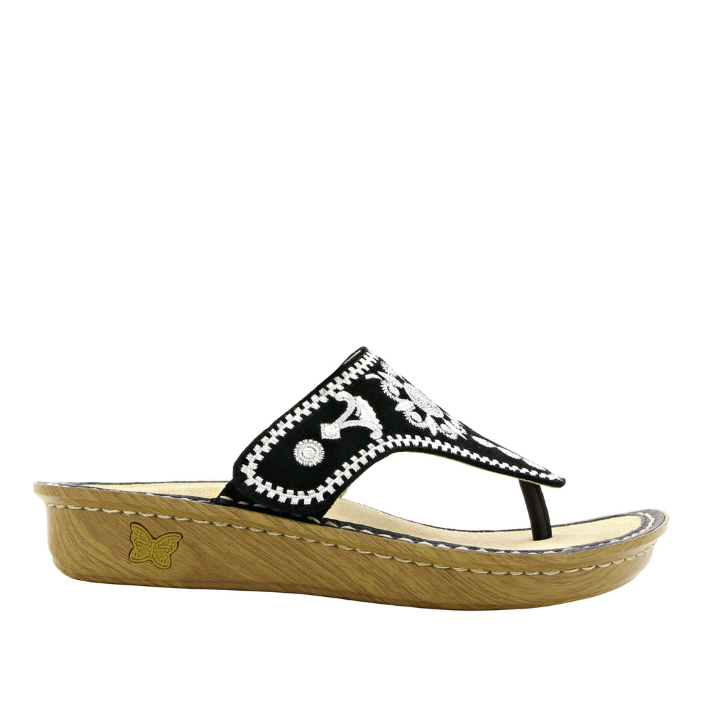 Vanessa Mandala Black thong style sandal with adjustable strap on the mini outsole - VAN-177_S2