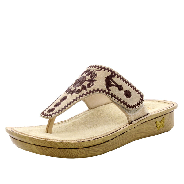 Vanessa Mandala Natural thong style sandal with adjustable strap on the mini outsole - VAN-178_S1