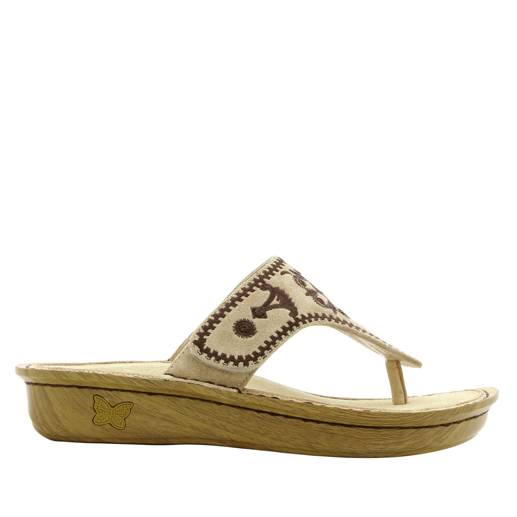 Vanessa Mandala Natural thong style sandal with adjustable strap on the mini outsole - VAN-178_S2