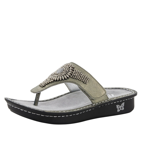 Vanessa Pewter Hand Craft Sandal - Alegria Shoes - 1