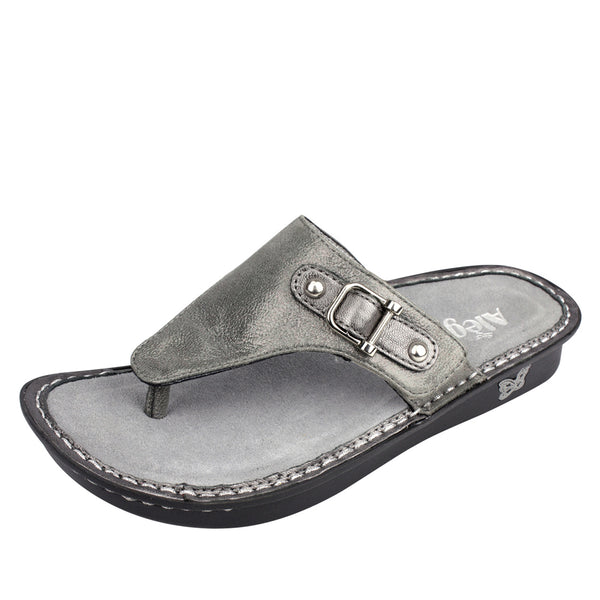 Vanessa Pewter Easy Sandal - Alegria Shoes