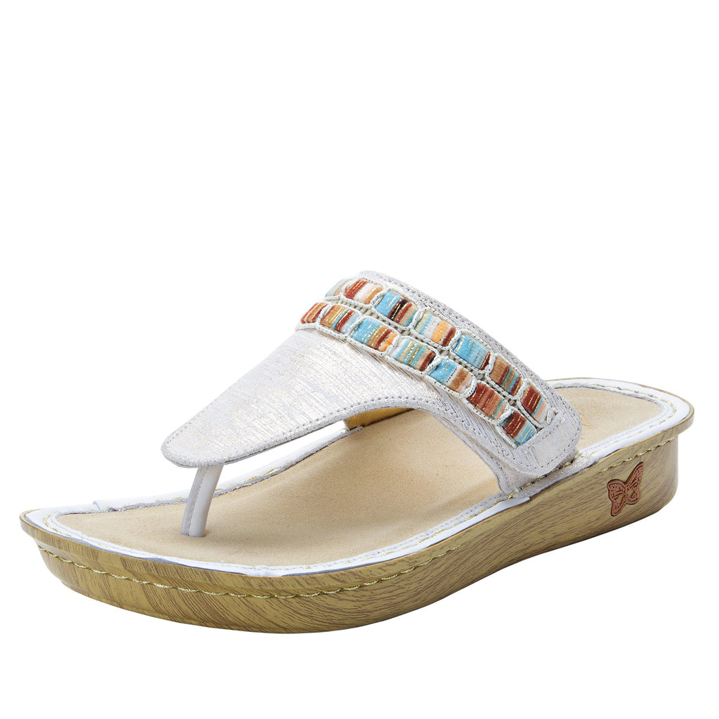 Vanessa Soiree Gold thong style sandal with adjustable strap on the mini outsole - VAN-261_S1