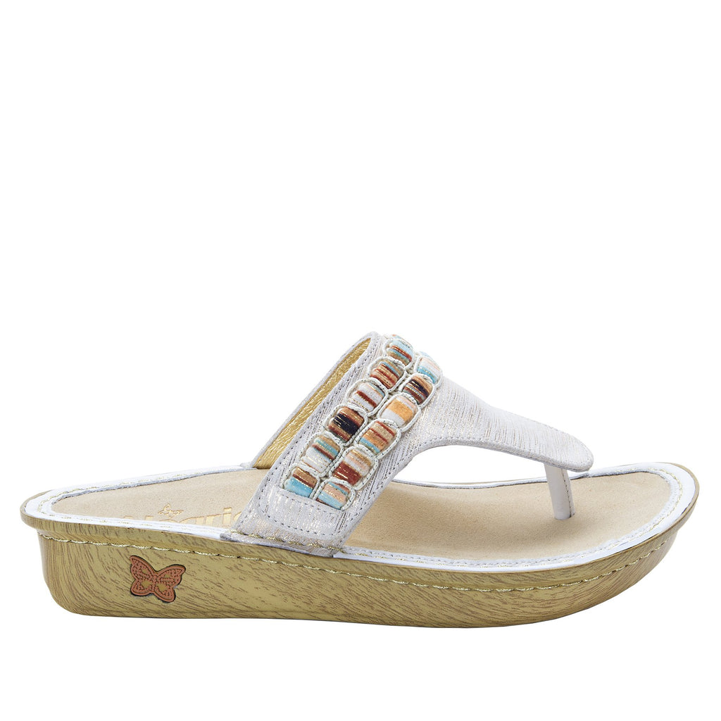 Vanessa Soiree Gold thong style sandal with adjustable strap on the mini outsole - VAN-261_S2