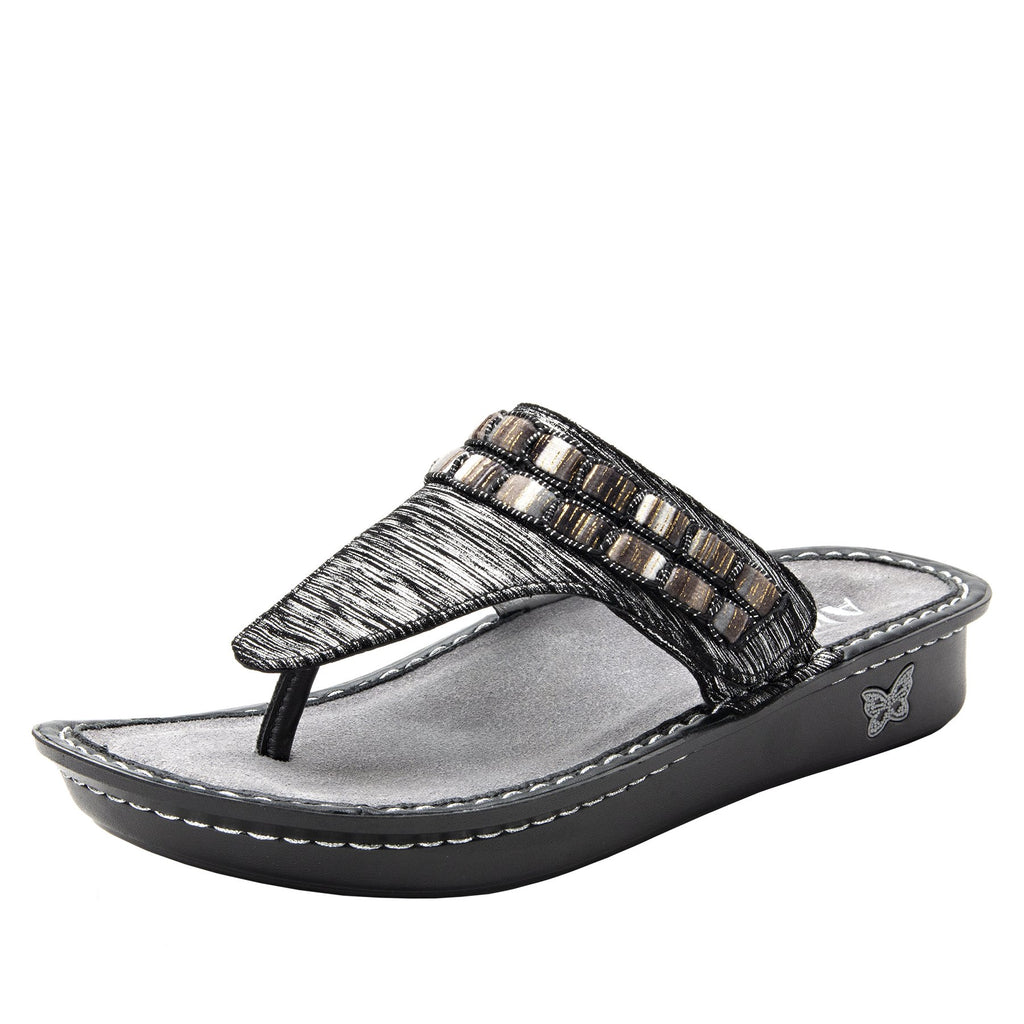 Vanessa Soiree Silver thong style sandal with adjustable strap on the mini outsole - VAN-262_S1