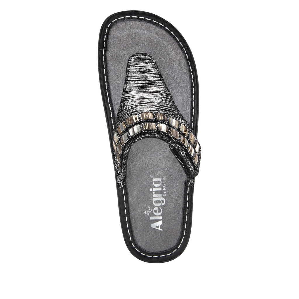 Vanessa Soiree Silver thong style sandal with adjustable strap on the mini outsole - VAN-262_S5