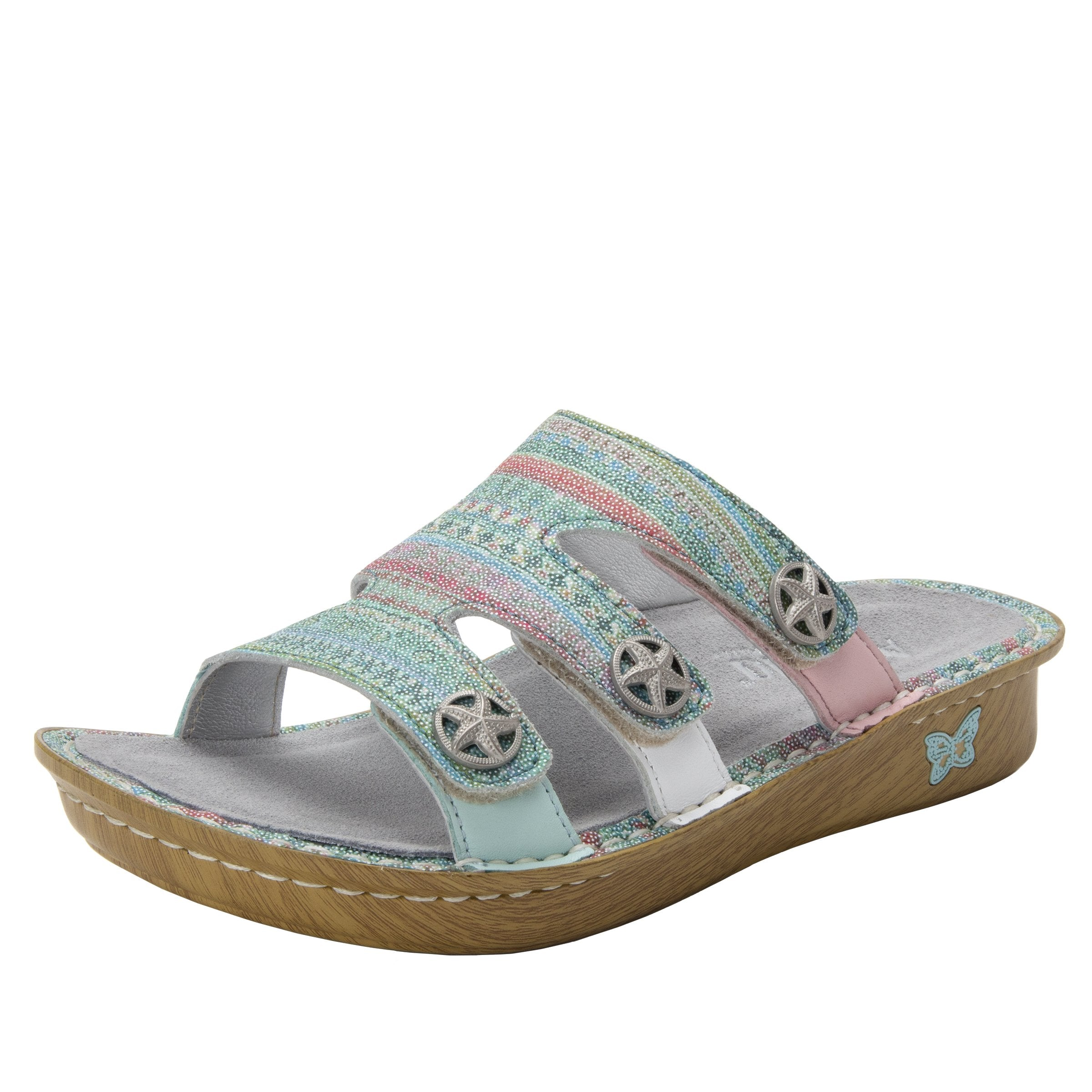 afcd262fdf29 Venice Seascape three strap adjustable slide sandal on mini bottom -  VEN-168 S1