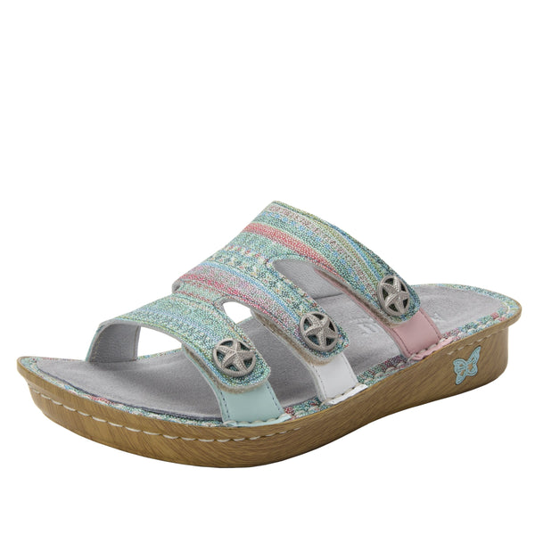 Venice Seascape three strap adjustable slide sandal on mini bottom - VEN-168_S1