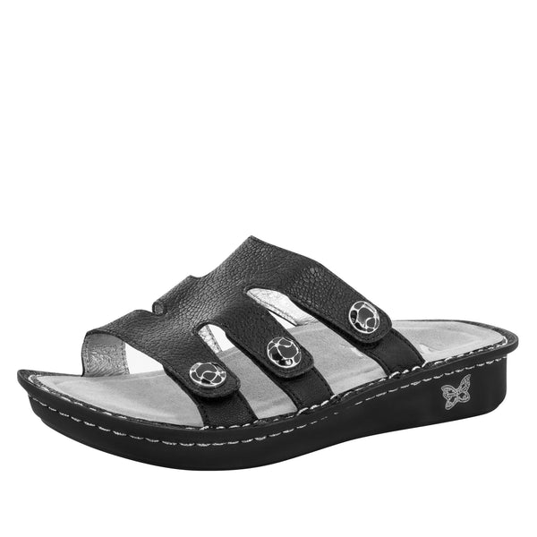Venice Masonry Black Sandal - Alegria Shoes - 1