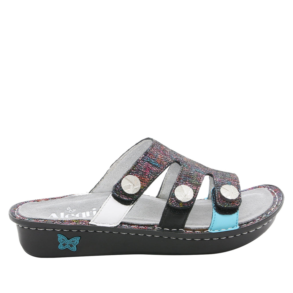 Venice Chirpy Multi three strap adjustable slide sandal on mini bottom - VEN-889_S2