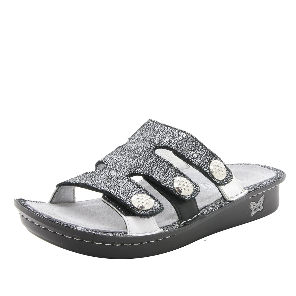 Venice Chirpy Pewter three strap adjustable slide sandal on mini bottom - VEN-900_S1
