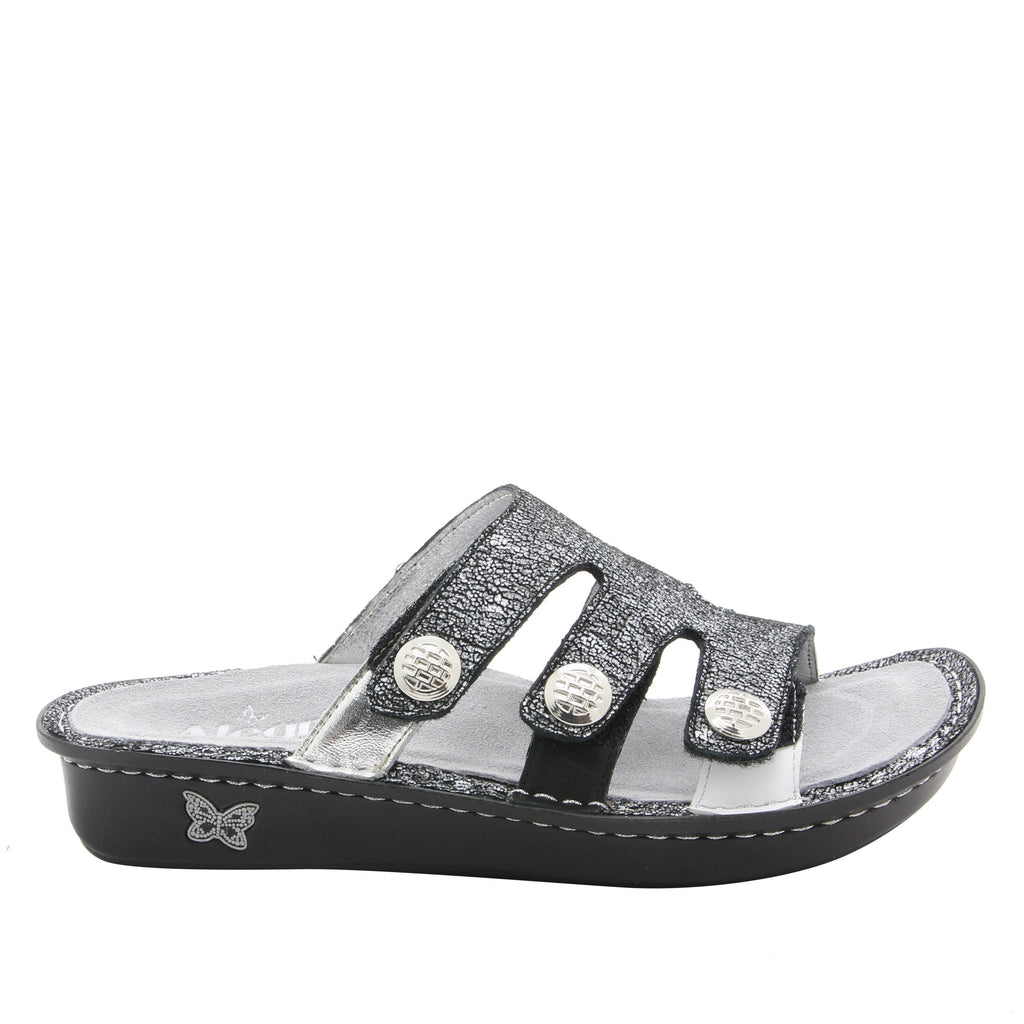 Venice Chirpy Pewter three strap adjustable slide sandal on mini bottom - VEN-900_S2